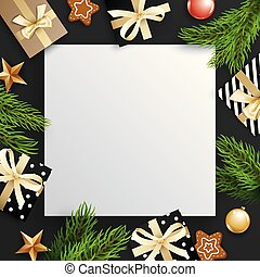 Christmas tree branches and gift box with white space for text background.