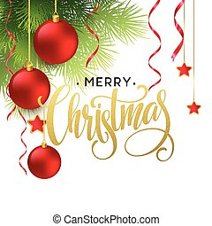 Christmas Tree Branches Border with handwriting Lettering. ...