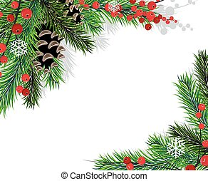 Christmas tree branches - Spruce branches with cones and red...