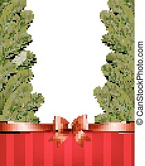 Christmas tree branches with a red ribbon and a bow. Vector