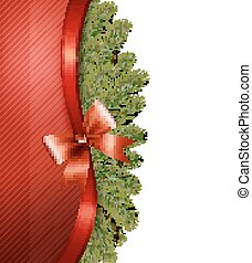 Christmas tree branches with a red ribbon and a bow. Vector.