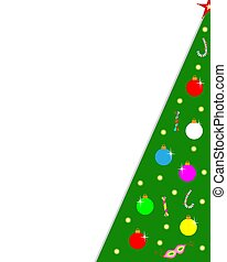 Christmas tree card corner frame with blank space.