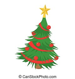 Christmas tree cartoon icon