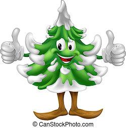 A happy Christmas tree cartoon mascot giving a thumbs up