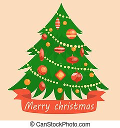Christmas tree cartoon vector illustration