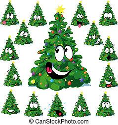 Christmas tree cartoon with star