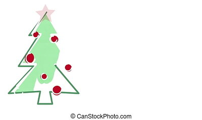christmas tree child's drawing style and empty space
