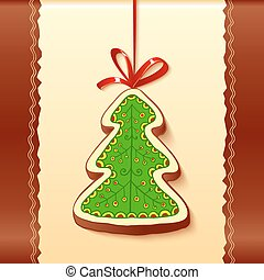 Christmas tree chocolate honey-cake greetings card