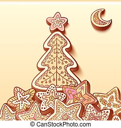 Christmas tree chocolate honey-cakes background
