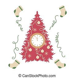 Christmas tree, christmas socks, snowflakes, ball, streamers and clock with arrows showing a few minutes until midnight.