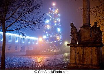 Christmas tree. Christmas time at night.