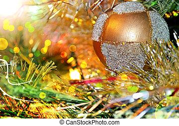 Christmas tree. Christmas toy. Ball