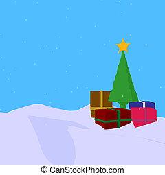 Christmas Tree - Christmas tree and christmas presents on a...