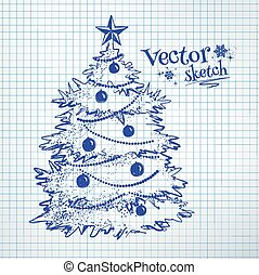 Ink Pen Drawing Writing Merry Christmas Tree Decorations A Ball