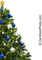 christmas tree with decoration, isolated on white