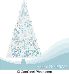 Christmas tree made from simple abstract snowflakes