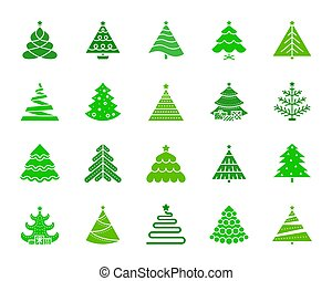 Christmas Tree color silhouette icons vector set