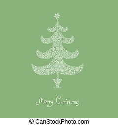Christmas tree, composed from snowflakes. Vector, EPS8
