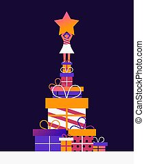 Christmas tree concept with woman and gifts