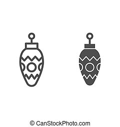 Christmas tree cone line and glyph icon. Glass toy pine cone vector illustration isolated on white. Xmas tree decoration outline style design, designed for web and app. Eps 10.