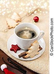 Christmas tree Cookie and coffee cup. Red decoration.