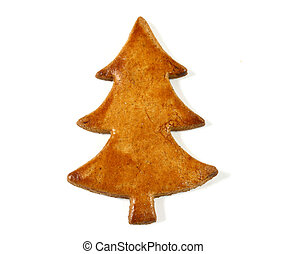 Gingerbread Christmas tree over white background