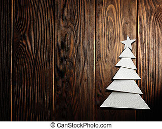 Christmas tree cut out from paper on background - Christmas ...