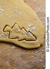 Christmas Tree Cut Out in Pastry - Christmas tree shape cut...