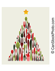 Christmas Tree Cutlery. Fork, spoon and knife pattern forming a Christmas tree with a shiny star on top. Usable as invitation card. Vector file available.