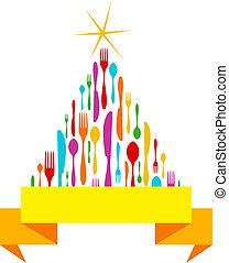 Christmas Tree Cutlery isolated