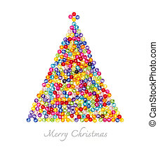 Christmas tree decorate by colorful beads on white background