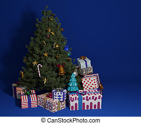 Christmas tree decorate with ornament and gift boxes on blue background.