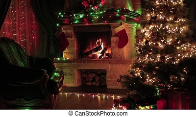 Christmas tree decorated in living room interior with ...