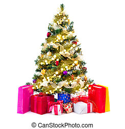 Christmas tree decorated with baubles, garlands and gifts isolated on white