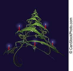 A highly detailed, abstract Christmas tree, decorated with red candles.