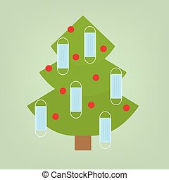 christmas tree decorated with face mask, christmas celebration during coronavirus pandemic, protective measures- vector illustration