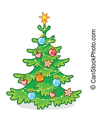 Christmas tree decorated with toys standing on a white background.