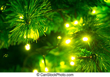 christmas tree decorated with yellow lights