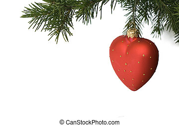 Isolated christmas-tree decoration - red heart