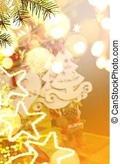 Christmas tree decoration and holidays lights on Christmas Market storefront