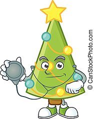 Christmas tree decoration cartoon mascot style in a Doctor costume with tools