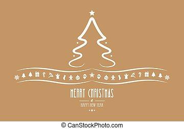 christmas tree decoration elements gold background