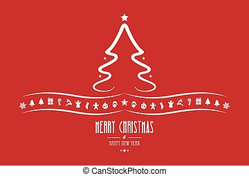 christmas tree decoration elements red background