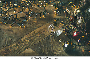 Christmas tree decoration glass balls in box and light garland