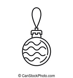 Christmas tree decoration glass balls line icon. Holiday Xmas winter trendy decoration background. Party celebration, holidays event, carnival element. Vector linear design illustration vintage object