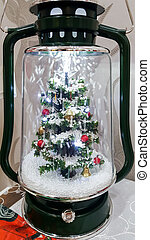 Christmas Tree decoration inside a glass jar