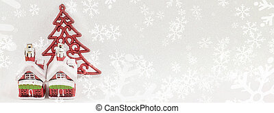 Christmas tree decoration on shiny background