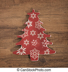 Christmas tree decoration over wooden background