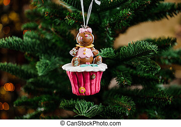 Christmas tree decoration toy in the form of cupcake