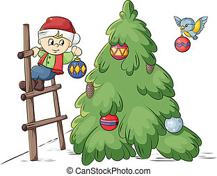 Christmas tree decoration - smallest dwarf decorating a...